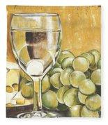 White Wine And Cheese Fleece Blanket by Debbie DeWitt