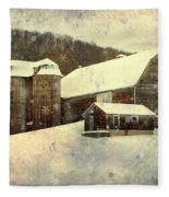 White Winter Barn Fleece Blanket