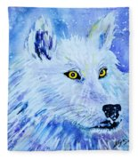 White Wolf - Aurora Nights In Blues - Square Fleece Blanket