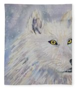 White Wolf Of The North Winds Fleece Blanket