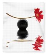 White Zen Gerbera Fleece Blanket