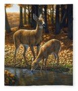 Whitetail Deer - Autumn Innocence 1 Fleece Blanket