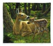 Whitetail Deer - First Spring Fleece Blanket