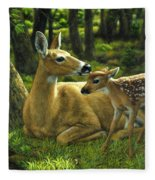 Whitetail Deer - First Spring Fleece Blanket
