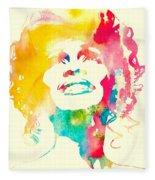 Whitney Houston Watercolor Canvas Fleece Blanket
