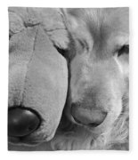 Who Has The Biggest Nose Golden Retriever Dog  Fleece Blanket