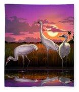 Whooping Cranes Tropical Florida Everglades Sunset Birds Landscape Scene Purple Pink Print Fleece Blanket