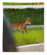 Why Did The Bobcat Cross The Road Fleece Blanket