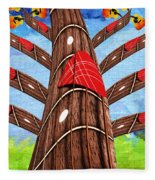 Why Pick On Me Guitar Abstract Tree Fleece Blanket