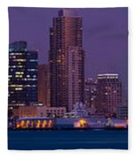 Wide Panoramic Of Scenic San Diego Fleece Blanket