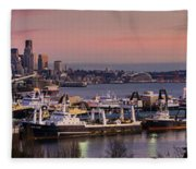 Wider Seattle Skyline And Rainier At Sunset From Magnolia Fleece Blanket