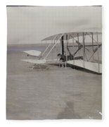 The Wright Brothers Wilbur In Prone Position In Damaged Machine Fleece Blanket