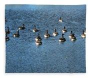 Wild Birds And Pond Fleece Blanket