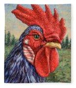 Wild Blue Rooster Fleece Blanket