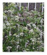 Wild Caraway And Old Fence Fleece Blanket