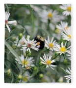 Wild Daisies And The Bumblebee Fleece Blanket
