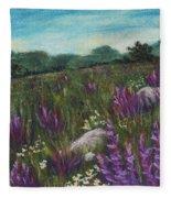 Wild Flower Field Fleece Blanket