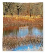 Wild Geese On The Farm Fleece Blanket