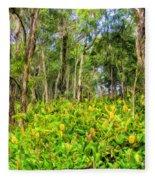 Wild Ginger And Ohia Trees Fleece Blanket