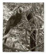 Wild Hawaiian Parrot Sepia Fleece Blanket