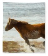 Wild Horse Running Through Water Fleece Blanket