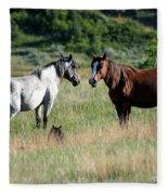 Wild Horses In Medora Fleece Blanket