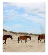 Wild Horses Of Corolla - Outer Banks Obx Fleece Blanket