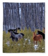 Wild Horses Of The Ghost Forest Fleece Blanket