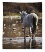 Wild Mustang On The River  Fleece Blanket