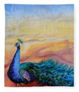 Wild Peacock Fleece Blanket