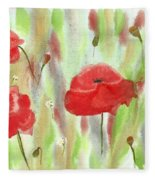 Wild Poppies Fleece Blanket