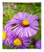 Wild Purple Asters Fleece Blanket