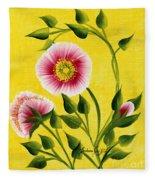 Wild Roses On Yellow Fleece Blanket