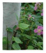Wild Roses With Birch Tree Fleece Blanket