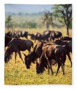 Wildebeests Herd. Gnu On African Savanna Fleece Blanket