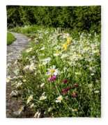 Wildflower Garden And Path To Gazebo Fleece Blanket