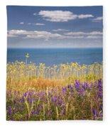 Wildflowers And Ocean Fleece Blanket