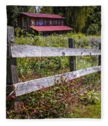 Wildflowers At The Fence Fleece Blanket