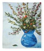 Wildflowers In A Blue Vase Fleece Blanket