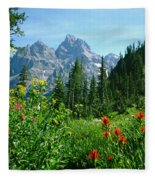 1m9372-v-wildflowers In Cascade Canyon, Tetons Fleece Blanket