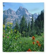 1m9371-h-wildflowers In Cascade Canyon, Tetons Fleece Blanket