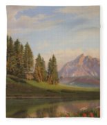 Wildflowers Mountains River Western Original Western Landscape Oil Painting Fleece Blanket