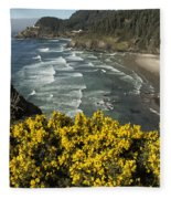 Wildflowers On An Atypical Winter's Day On The Oregon Coast Fleece Blanket