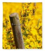 Wildflowers On Fence Post Fleece Blanket