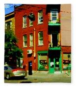 Wilenskys Famous Light Lunch Diner Corner Clark And Fairmount Montreal City Scene Carole Spandau Fleece Blanket