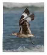 Willet In Flight Showing Wing Molt Fleece Blanket