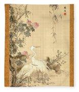 Willow And Herons Fleece Blanket