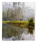 Willow Tree At The Pond Fleece Blanket