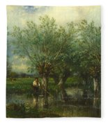 Willows With A Man Fishing Fleece Blanket