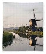 Wind Mill On A Canal, Holland Fleece Blanket